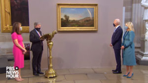 """PBS News Hour, """"Senator Roy Blunt presents painting to Biden in honor of inauguration"""", 21 January 2021"""